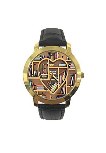 Sweet Digital Drawn Love Education-Konzept Holz Bücherregale Form wie Herzdruck Mode Herren Armbanduhr Quarz Lederband Freizeit Uhr