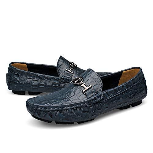 Asifn Herren Klassisch Oxford Loafers Abendschuhe Mode Ausgezeichnete Weiche Krokodilleder Boot Mokassin Slip on Fahren Schuhe 50 EU Blau,30 cm Ferse zum Zeh