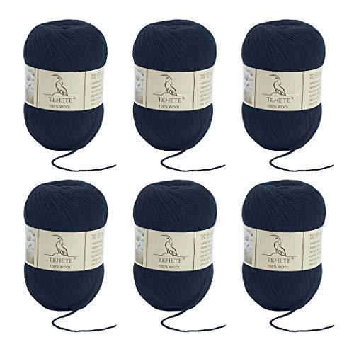 TEHETE 100% Schurwolle Yarn zum Stricken und Häkeln, Woll-Set weich 6 x 50 g, Schwarz