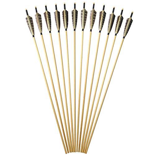 AMEYXGS 12 pcs Tiro con Arco Flecha de Madera 31' Flechas de Caza con Plumas de Pavo de Caza para Arco Largo Recurve y Arco Tradicional (type2)