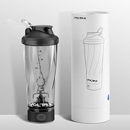 VOLTRX Premium Electric Protein Shaker Bottle, Made with Tritan - BPA Free - 24 oz Vortex Portable Mixer Cup/USB Rechargeable Shaker Cups for Protein Shakes, FDA Approved (Black)