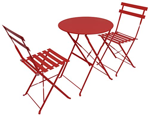 Woodside Outdoor Garden Patio Folding Table & Chair Bistro Set, Powder Coated Steel, 6 Colours Available