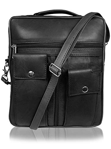 Roamlite Travel Shoulder Bags - Leather Utility Pouch for Passports and Documents - 8 Pockets - 25.5 cm - Black Large RL504KL