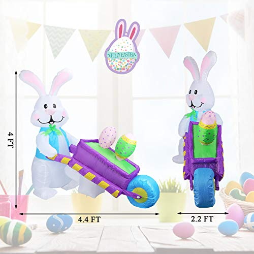 WONDER GARDEN 4 Foot Easter Inflatable Decoration Bunny Pushing Wheelbarrow with Eggs Outdoor Indoor Holiday Blow up Decorations