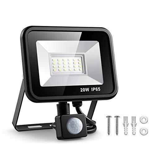 ESLAS Faretto con Sensore di Movimento 20W Faro LED Esterno IP65 Impermeabile LED Esterno 6500K 2000LM, Lampada a Rsparmio Energetico a LED per Cortile [Classe di efficienza energetica AA+]