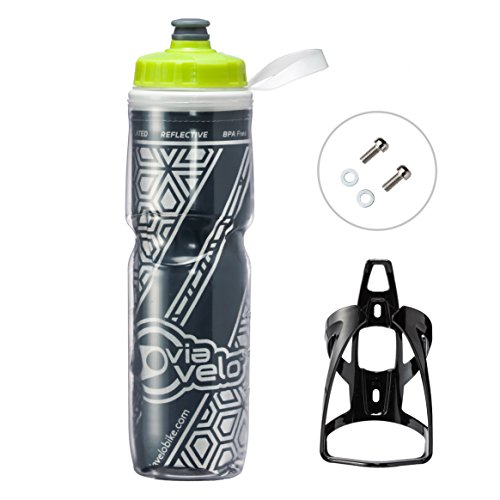 Via Velo Bicycle Reflective Insulated Water Bottle & Cage 26 oz Capacity BPA-Free Double Insulated Bike Water Bottle with Cage Mount for Sports, Indoor and Outdoor Activities