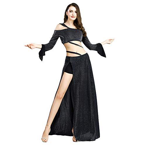 ROYAL SMEELA kostium do tańca brzucha dla kobiet topy do tańca brzucha i spódniczka zestaw z długimi rękawami odkryte ramiona topy rozcięte spódnice maxi trening sukienki ubrania