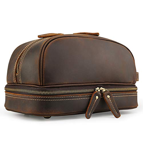 Tiding Leather Toiletry Bag Travel Dopp Kit Waterproof Travel Bag Organizer Bag for Bathroom Shaving - Brown
