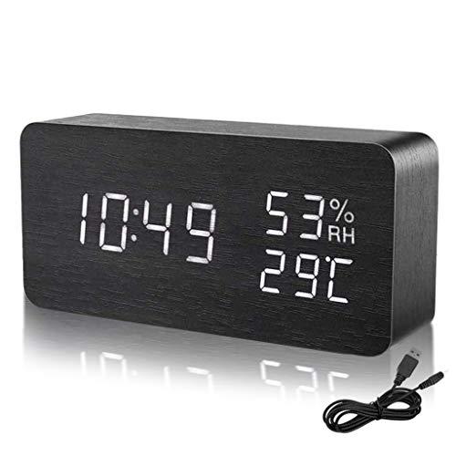 Despertador Digital Moderno de Madera, LED Reloj Alarma Electrónico 3 Niveles Brillo Ajustable Viene con Cable USB Muestra Humedad y Temperatura(C/F) para Escritorio, Habitación, Estudio (Negro)