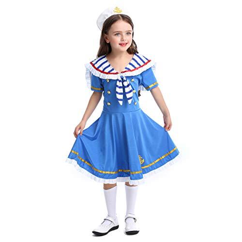 lontakids Kids Girls Sailor Dress and Hat, Navy Costume Uniforms Party Fancy Dress (Blue, Large)