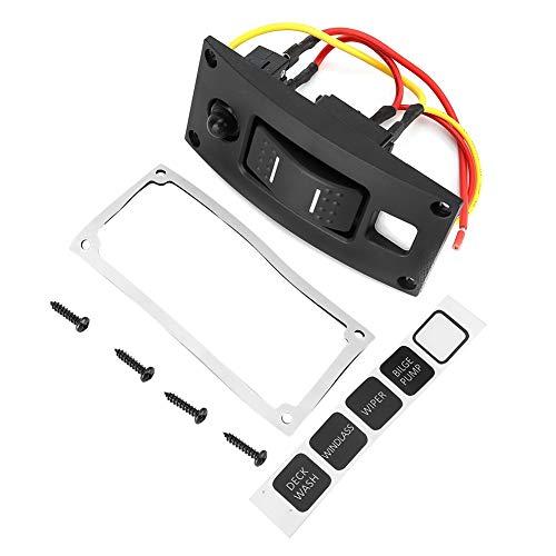 Kimiss on-off-on 12/24 V 1 gang gebogen LED rocker bilge pomp switch paneel voor boot marine Rv IP66 waterdicht (zwart)