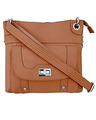 Roma Leathers Ladies' Gun Concealment Crossbody Bag - Cowhide Leather, Adjustable Strap and Metal Twist Lock Buckle