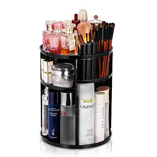 360 Rotating Adjustable Cosmetic Organizer - Spinning Holder Storage Rack for Bedroom Dresser or Vanity Countertop,Fits Makeup Brushes, Lipsticks,etc.(Black)
