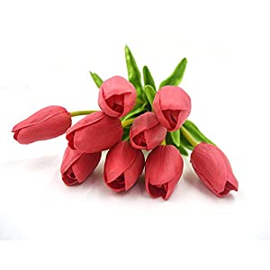 Silk Flower Arrangements smylls 10 pcs Holland Tulips Flowers with Latex-Look Like Real,Eco-Friendly Odourless Artificial Flowers Christmas Party Decoration Gift Package(10, Red)