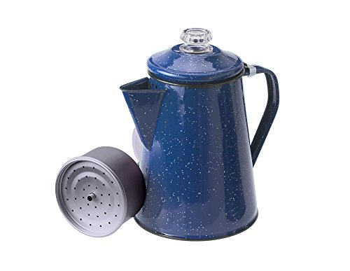 GSI Outdoors 8 Cup Enamelware Percolator for Coffee at Home or Campsite, Blue (15154)
