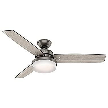 Hunter 59211 52  Sentinel Ceiling Fan with Light and Remote, Brushed Slate