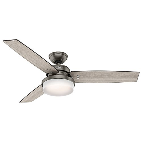 "Hunter Sentinel Indoor Ceiling Fan with LED Light and Remote Control, 52"", Brushed Slate"