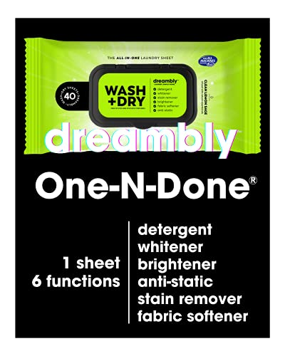 Dreambly Natural Laundry Detergent Sheets for Washer and Dryer, Organic Hypoallergenic 6-in-1 Detergent, Stain Remover, Whitener, Brightener, Fabric Softener, Anti-Static, One-N-Done, 40 Sheets 1 Pack
