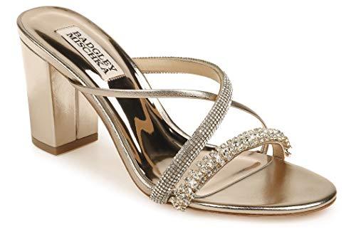 Badgley Mischka Women's Slide, Block Heel Heeled Sandal, Champagne Leather, 8.5