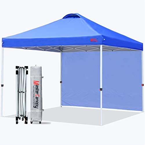 MASTERCANOPY Patio Pop Up Instant Shelter Beach Canopy with 1 Side Wall, Better Air Circulation Outdoor Canopy with Wheeled Carry Bag and 4 Sand Bags(10'x10',Blue)