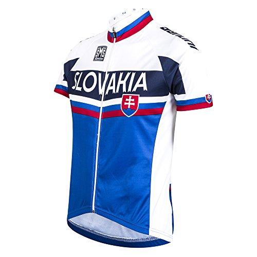 Santini Replica Slovacchia National Team 16, a Manica Corta, Jersey, Colore: Bianco/Blu