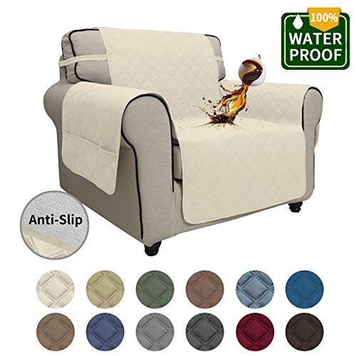 Easy-Going Sofa Slipcover Chair Cover Waterproof Couch Cover Furniture Protector Sofa Cover Pets Covers Seamless Whole Piece Non-Slip Fabric Pets Kids Children Dog Cat(Chair, Ivory)