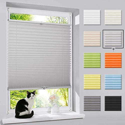 Plissee Klemmfix Faltrollo ohne Bohren Jalousie (Grau,90x130cm) Easyfix Rollo, Sonnenschutz und Sichtschutz Lichtdurchlässig Jalousie für Fenster & Tür