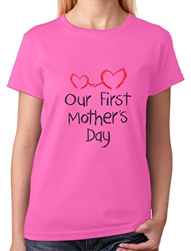 Our First Mother's Day Shirt Mom and Baby Women T-Shirt Large Pink