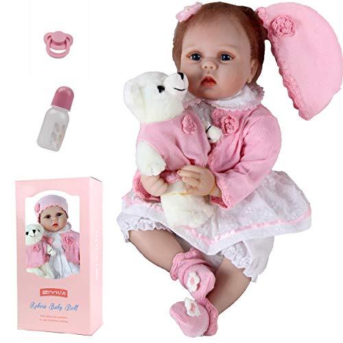 ZIYIUI Carino Bambole Reborn Femmine 22 Pollici 55cm Silicone Morbido Vinile Corpo Pieno Realistico Fatto a Mano Manichino Magnetico Occhi Blu Regali di Compleanno Reborn Dolls