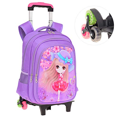 LHY EQUIPMENT Primary Rolling Backpack, Six-Wheeled Detachable Backpack Nylon Waterproof Rolling Backpack Suitable for Girls Aged 6-12,Purple,320mm*150mm*440mm