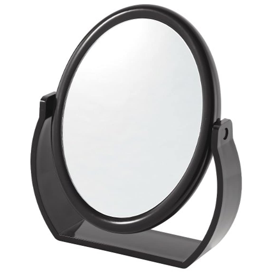 倍増気になるリスキーな拡大鏡付スタンドミラー(約5倍)黒