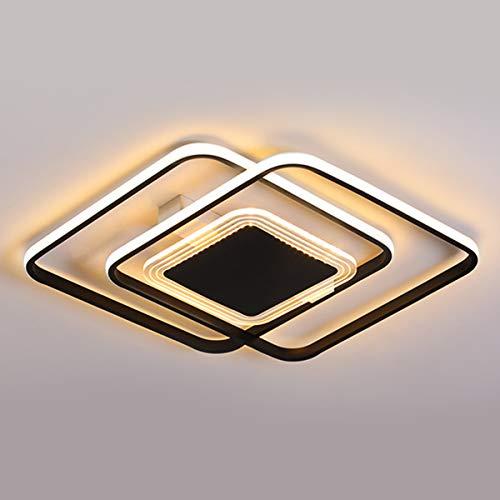 Lámpara de Techo LED Negra de 50W, Luces de Dormitorio de Diseño de 3 Anillo Cuadrado Regulables, Luz de Techo de Sala de Estar de Metal Moderno con Control Remoto, Lámpara de Comedor, Ø52cm