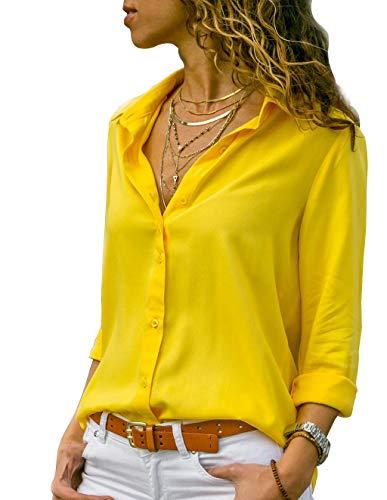 Tunique Femme Grande Taille, Chemisier Chic Femme Blouse Fluide Manches Longues Col Rabattu Tee Shirt Blouses et Chemises Basique Décontracté T Shirt Haut Top (B-Jaune, M)