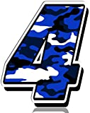 Biomar Labs® Número 4 Camuflaje Militar Azul Vinilo Adhesivo Pegatina Coche Auto Motocross Moto Sport Start Racing Tuning N 214