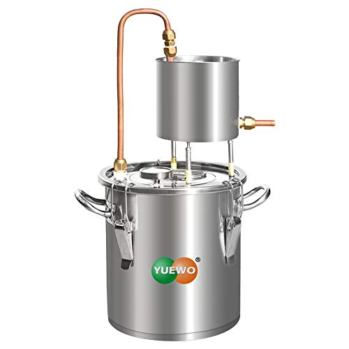 YUEWO Moonshine Still Alcohol Distiller Alembic Spirits Alcohol Wine Making Boiler with Thermometer Pump for Whisky Brandy Vodka 304 Stainless Steel (5Gal/20L)