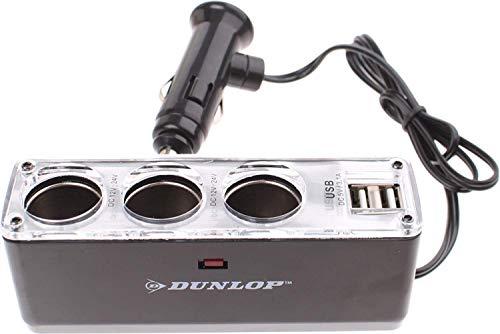 Dunlop Dreifachsteckdose - Multi-Funktion Power Auto Adapter mit 3-Fach KFZ Zigarettenanzünder Verteiler Splitter für GPS und Mehr - 12-24 V - Schwarz