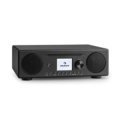 auna Connect CD Kompaktanlage - Internetradio, Digitalradio, WLAN, DAB+, UKW-Tuner mit RDS, Bluetooth, Spotify Connect, AUX, 10 Senderspeicherplätze, CD Player, USB, Farbdisplay, schwarz
