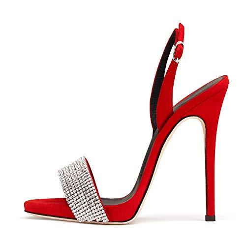 Sandalias Brillantes Escarpín Stiletto Sexy Punta Abierta,MWOOOK-663 Mujer Sexy Zapatos de Vestir,Red,42