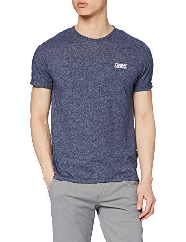 Tommy Jeans Herren Modern Jaspe Kurzarm T-Shirt Blau (Black Iris 002) Large (Herstellergröße: L)