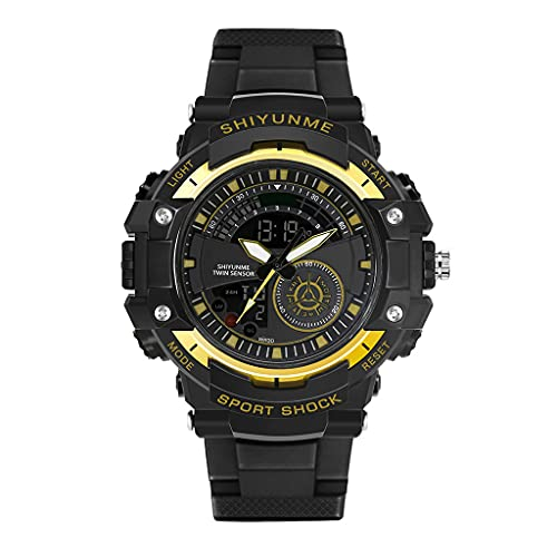 AniYY Reloj digital de doble pantalla para hombre, reloj militar multifuncional, cronómetro impermeable de 164 pies, luz de fondo luminosa