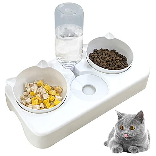 doepeBAE Doppelnapf Katzen, 3 in 1 Automoatsierte Futernapt Wasersepender für Katze Neigbar Katzenpfe Abnehmbar für Kleione und Miteltgro Hunde und Katzen(Weiß)