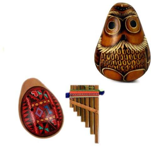 Gourd Owl Carved Maraca, Ocarina & Pan Flute Set Fair Trade Peru Hand Made
