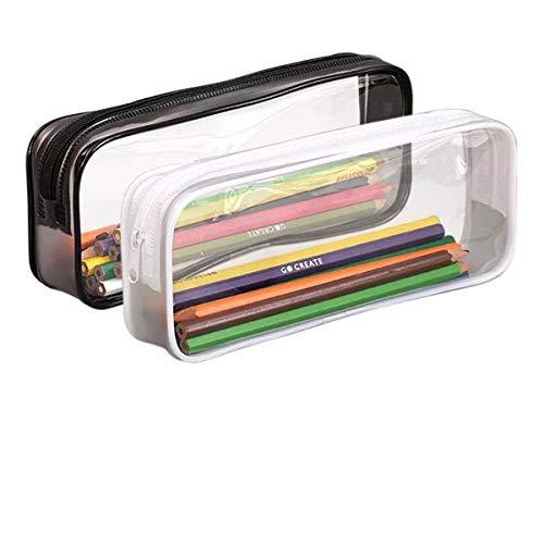 Veyarien - Estuche transparente para lápices, de PVC, de gran capacidad, con cremallera, para almacenamiento de cosméticos o artículos de papelería, 2 unidades, color Negro y transparente.