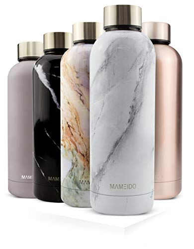 MAMEIDO Water Bottle, Stainless Steel 500ml - Insulated, Metal Drinking Flask - Reusable, Leak-Proof, BPA-Free for Adults, Girls & Boys keeps Cold 24h, Hot 12h (500ml, White Marble)