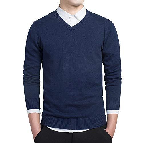 U/A - Sudadera para hombre con cuello en V Azul azul oscuro L