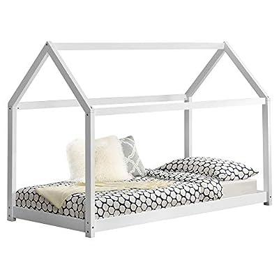 [en.casa] Children Bed 206x98x142cm Bed for Kids Pine Wood Bed Frame House Construction Design