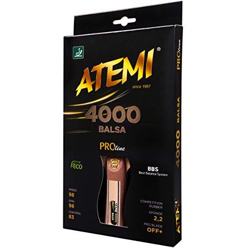 Atemi 4000 Tischtennisschläger (Balsaholz) Pro Offensive+ |Verbesserte Kontrolle, Geschwindigkeit, Rotation |Alle Spielstärken |5-Schicht, Wettkampfbelag | Aktualisierte Griffe, Farben und Verpackung