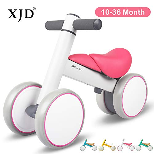 XJD Baby Balance Bikes Baby Toys for 1 Year Old Boy Girl 10-36 Months Adjustable Height Toddler Bike Infant No Pedal 4 Wheels Bicycle First Birthday Gift Children Walker, Pink and White