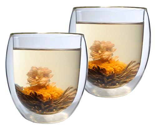 AKTION: 2er-Set 400ml Thermo-Glas mit 2 Teeblumen DOPPELWANDIG ICE-BLOOM XXL extra großes Teeglas / Kaffeeglas mit Schwebeeffekt
