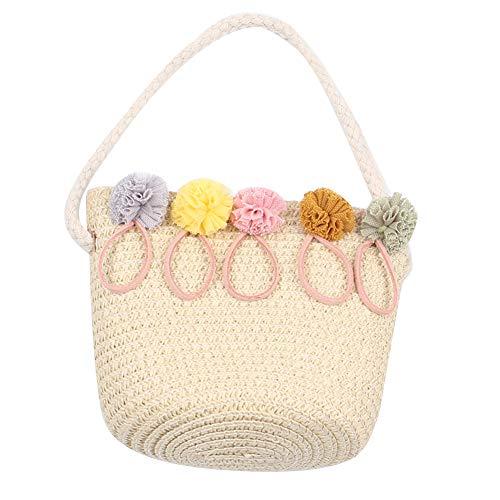 iKulilky - Bolso de Paja para niña, para Verano, con diseño de Flores, Bolso para Monedas, Bolso para Crossbody